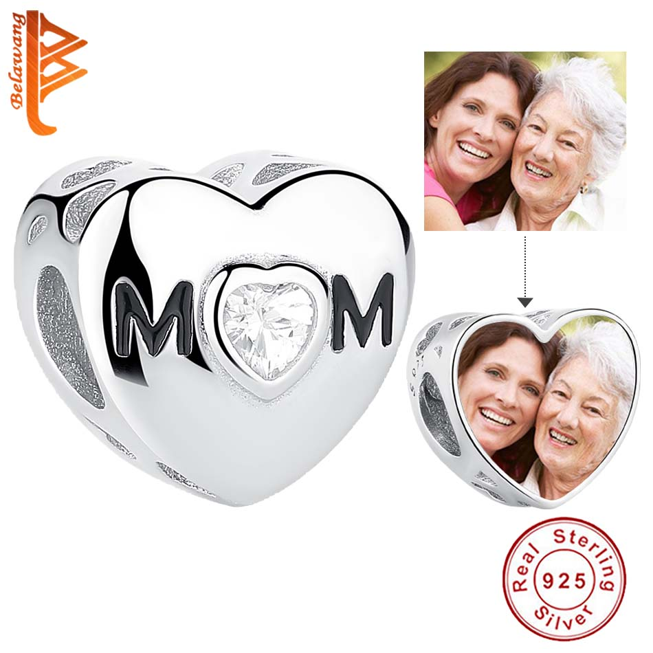BELAWANG 925 Стерлинговое Серебро мама день с прозрачным кубическим цирконием шарма