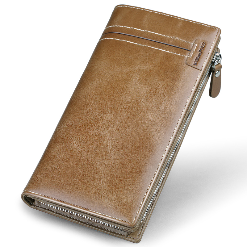 WilliamPolo Full-Grain leather Long Wallet For Men Fashion Vintage Credit Card Holder Coin Purses Business Clutch Cowhide 17318 Men Men's Bags Men's Wallets cb5feb1b7314637725a2e7: Borwn|Khaki