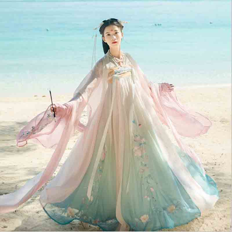 Women Hanfu Chinese Ancient Tradition Wedding Gradation Blue Dress New Year Carnival Princess Costume Outfit For Lady Plus Size