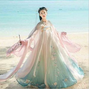 Women Hanfu Chinese Ancient Tradition Wedding Gradation Blue Dress New Year Carnival Princess Costume Outfit For Lady Plus Size(China)