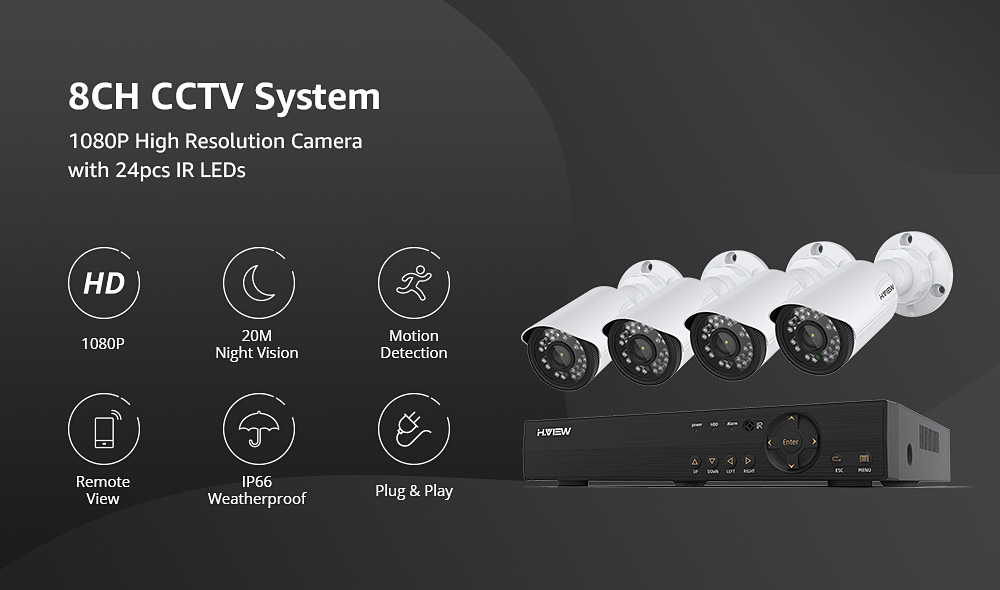 Hf92000e50ee7444d80e1761fecf59c95n H.VIEW 4CH 720P Video Surveillance Kit Camera Video Surveillance Outdoor CCTV Camera Security System Kit CCTV System for Home