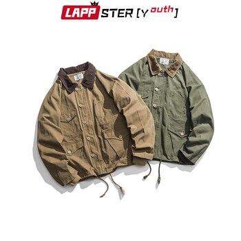 LAPPSTER Men Harajuku Vintage Bomber Jacket 2020 Mens Green Cargo Jacket Windbreaker Pockets Hip Hop