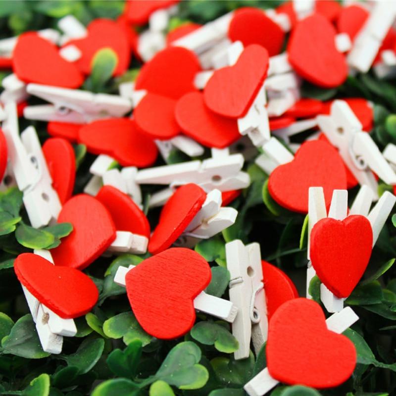 50PCS/Lot Mini Romantic Loving Heart Shape Wood Clips Handicrafts Photos Papers Clothes Pegs Home Bachelorette Party Decorations(China)