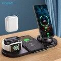 10 Вт Qi Беспроводное зарядное устройство подставка для iPhone 11 Pro XS Max XR 6 в 1 быстрая зарядка док-станция для Apple Watch 2 3 4 5 AirPods Pro