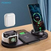 10 w qi carregador sem fio suporte para iphone 11 pro xs max xr 6 em 1 estação doca de carregamento rápido para apple assista 2 3 4 5 airpods pro