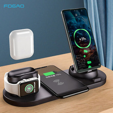 10W Qi Wireless Charger Stand For iPhone 11 Pro XS Max XR 6 in 1 Fast Charging Dock Station For Apple Watch 2 3 4 5 AirPods Pro