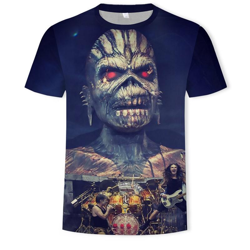 2018 New 3D Heavy Metal Skull T-shirt Punk Festival Rock T Shirt Men Printed Casual Tshirt O Neck Hip Hop Short Sleeve Plus-Size