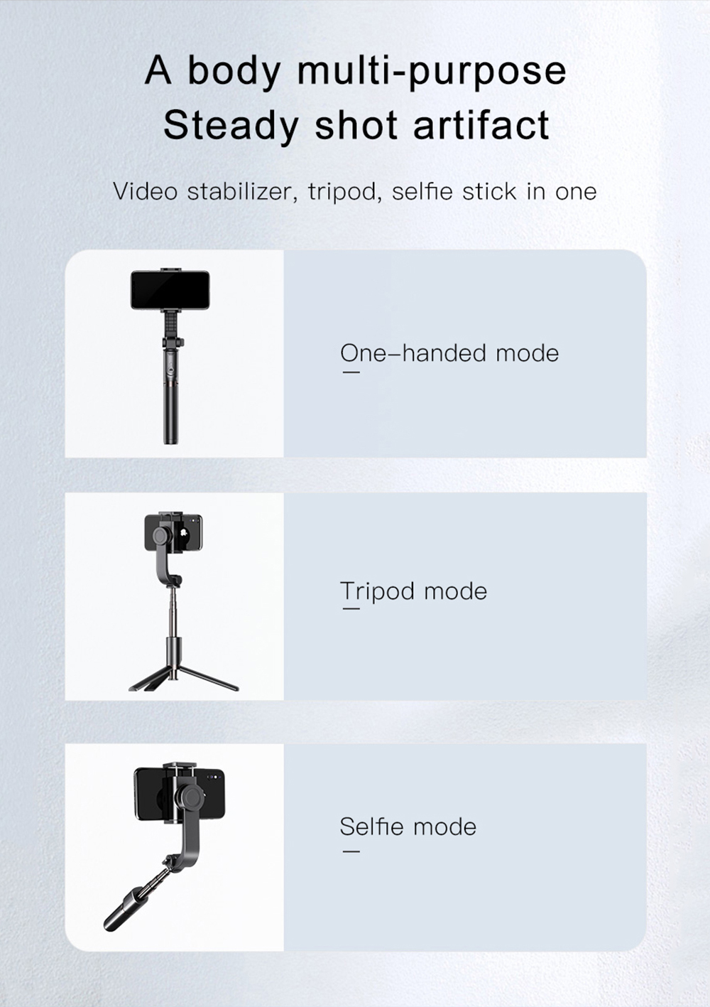 Bonola 3 in1 Handheld Gimbal Stabilizer Smartphone Selfie Stick Tripod For iOSAndroid Video Stabilizer For iPhone11ProSamsung (2)