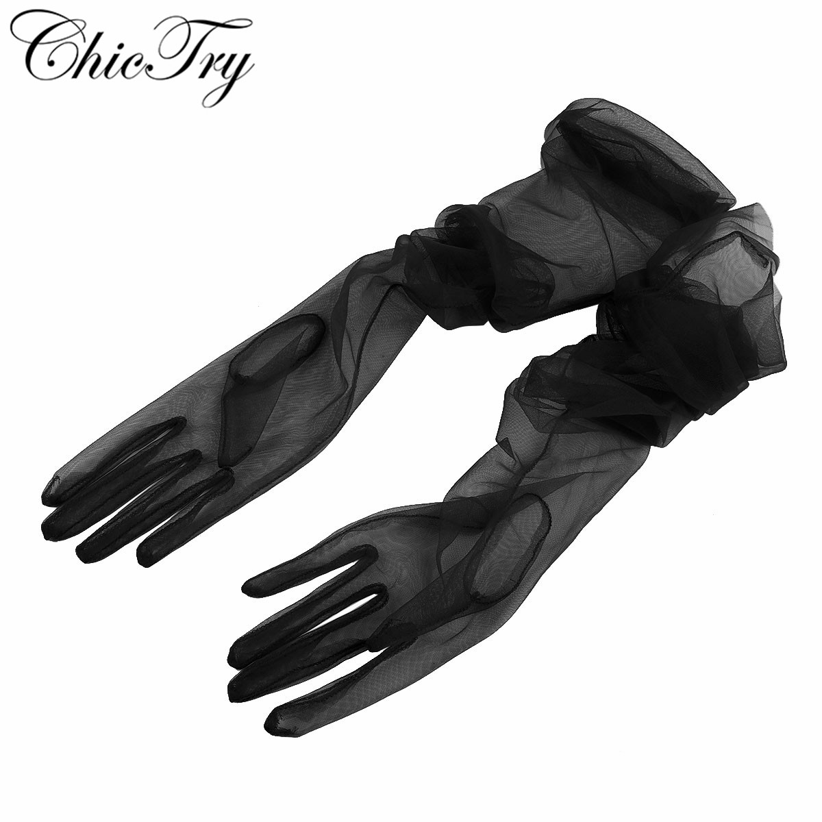 Women Female Ladies See Through Transparent Tulle Full Finger Long Gloves Mittens For Formal Party Photography Accessories