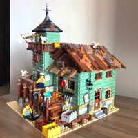 2049pcs Criador da Série Cidade Litorânea Idéias Loja De Pesca Antigos Tijolos de Bloco de Construção Brinquedos Infantis Presentes Compatível Legoinglys Cidade