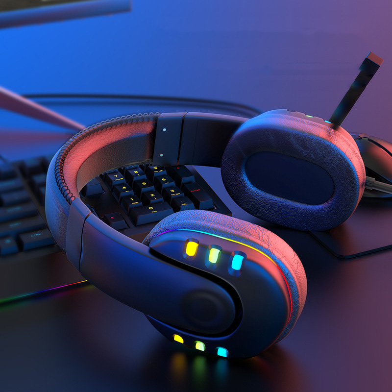 Gaming Headsets With Microphone PC Gamers Headsets Wired Headphones Backlit RGB Headset For Computer Tablet For Xbox One PS4 PS5 1