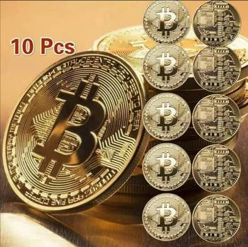 10Pcs Gold Plated Bitcoin Coin Collectible Art Collection Gift Physical Commemorative Casascius Bit BTC Metal Antique Imitation 1