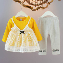 2pcs Girls Clothes Sets Baby Cute Bow Lace Splice Knit Dress + Printed Leggings with Pearl Suits Autumn Kids Children's Clothes