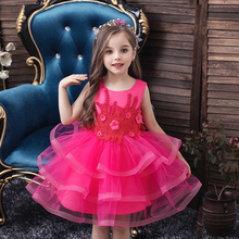 Princess Flower Girl Dress Summer Tutu Wedding Birthday Party Kids Dresses For Girls Children's Teenager Prom Red New 2020 carnival red bug halloween cosplay costume princess flower girl dress summer tutu wedding birthday party red bug kids dresses