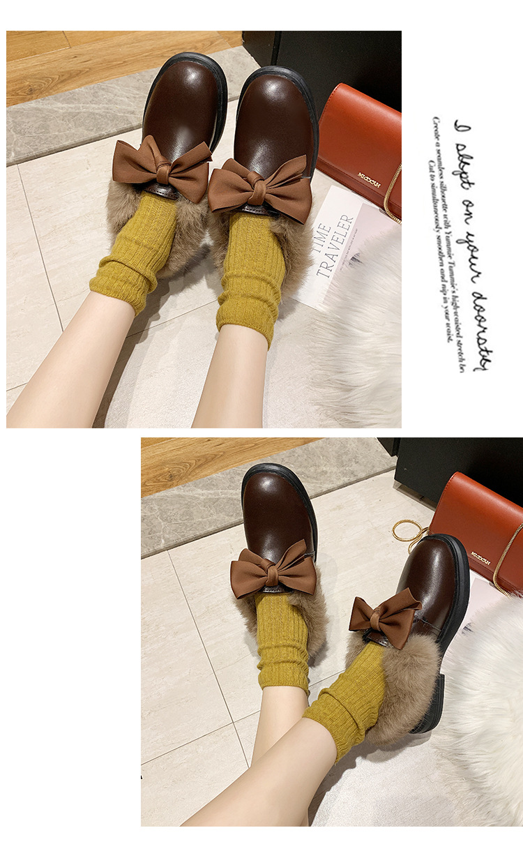2019 winter long plush warm fur shoes bow tied decorate slip-on leather bullock shoes woman anti-skid chunky leisure espadrilles 52