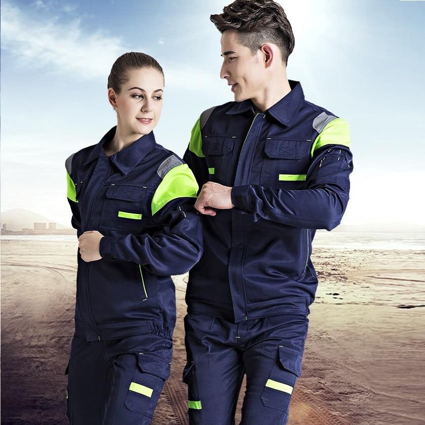 Welding Suits Workwear Clothes Men Women Long Sleeves Workmen Work Uniform Car Workshop Reflective Mechanical Working Overalls