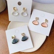 2019 Japan Korea Hot Sale Fashion Jewelry Simple Gold Copper Earrings Fan Shaped Transparent Crystal Earrings for women gift