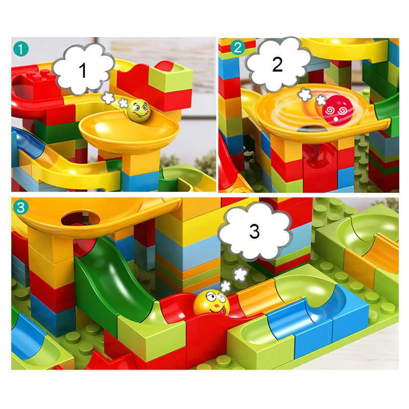 165 stücke Marmor Run Labyrinth Kugeln Track Bausteine Spielzeug Trichter Rutsche Montieren Bricks Kompatibel Legoed Duploe
