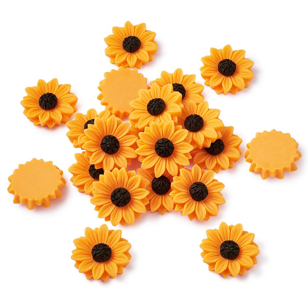 20pcs Sunflower Flatback Resin Cabochons For Women DIY Earrings Jewelry Making Scrapbooking Decorations 29~30x8.5mm