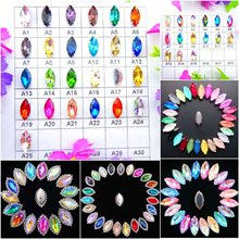 Glass Crystal Silver claw settings 8 sizes nice colors horse eye Navette Marquise shape Sew on rhinestone beads appliques diy(China)