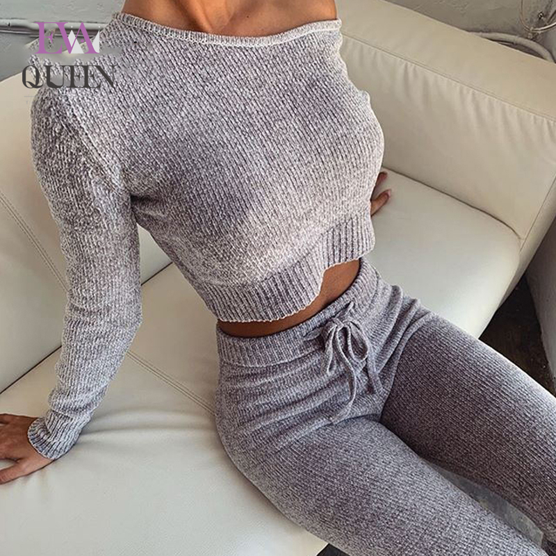 EvaQueen Knitted Sweater Two Piece Set Crop Tops And Long Pants Sexy Autumn Winter 2 Piece Set Women Long Sleeve New Outfits