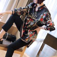 Vintage Chiffon Blouses Women 2019 Autumn Streetwear Print Floral Black Shirt Office Blouse Slim Casual Tops Female Plus Size