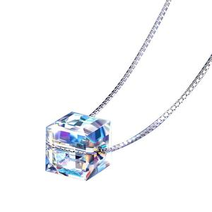 Модная женская квадратная Подвеска Ожерелье Аврора Куб Сахар кулон короткая цепочка ключица ожерелье кристалл гипоаллергенный E5V8