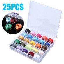 25 шт. пластиковые катушки для швейных машин Чехол Органайзер с красочной швейной нитью для домашняя вышивка аксессуары для инструментов