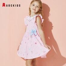 ABCkids Summer Girls Bownknot Cartoon Print Dress Ruffles Children Doll Collar Princess Dress Kids 100% Cotton Clothes for Girls girls button up banana print collar dress