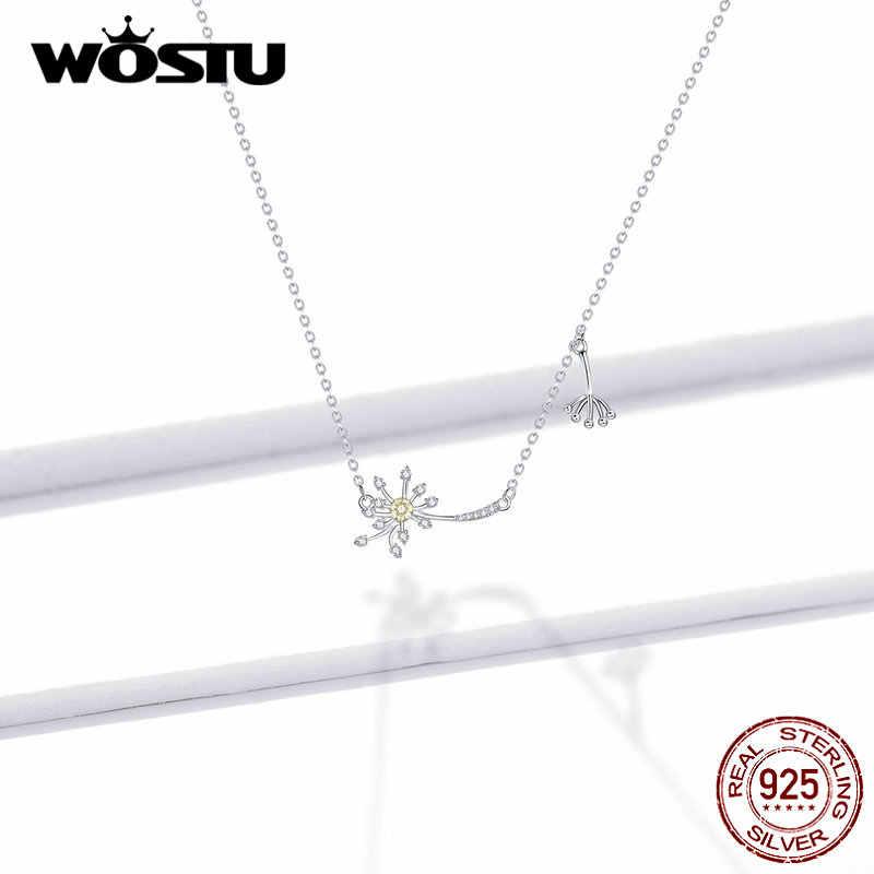 WOSTU 925 סטרלינג כסף שן הארי פרח שרשרת שרשרת קישור נשים חתונת אירוסין ייחודי תכשיטי מתנה FNN147