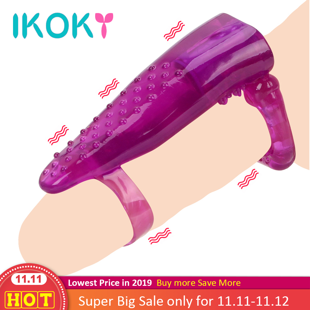 IKOKY Tongue Licking Vibrator Penis Rings Cock Ring Vagina Massager Clitoris Stimulate Sex Toys For Men Couple Sex Porducts