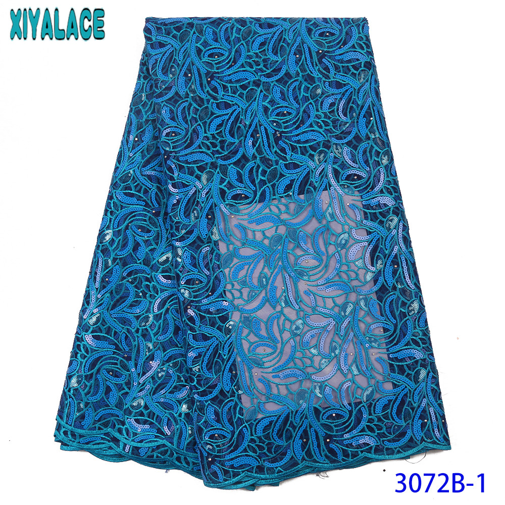 Blue Tulle Lace Fabric African Lace Fabric High Quality Lace With Stones Nigerian Lace Fabrics With Sequins KS3072B