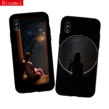 Bioumei silicon TPU case for iPhone XR XS Max XS 5 6 6S 7 8 Plus girl and galaxies planets universe for iPhone 7case 82 galaxies