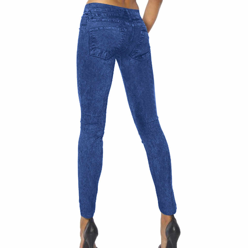 Jaycosin Busana Musim Gugur Wanita Kasual Longgar Solid Berjalan Celana Jeans Denim Skinny Stretch Celana Perempuan Lebar Vintage Jeans 12 #10