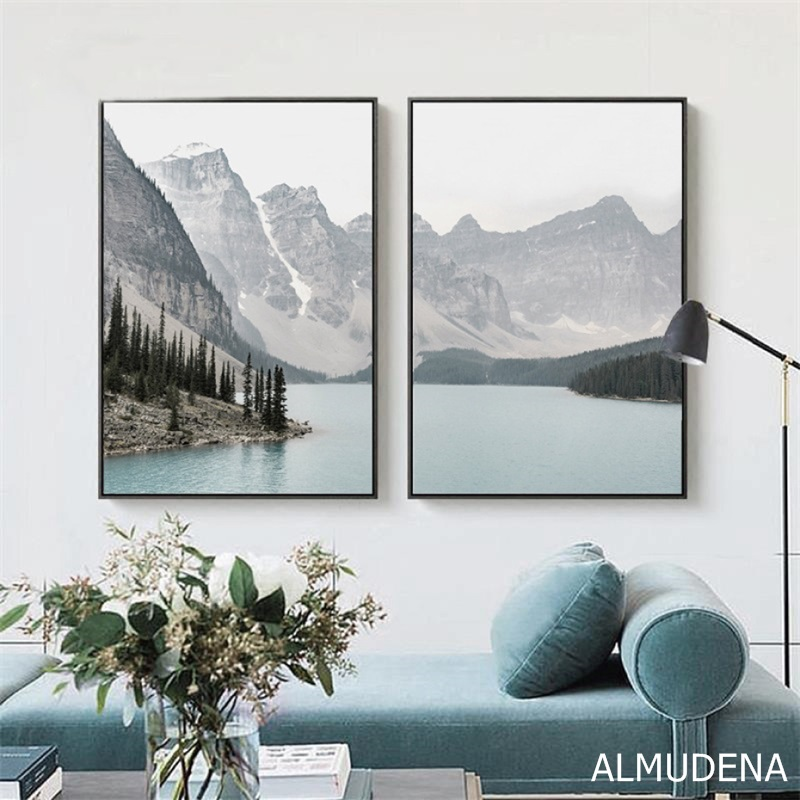 Nordic Landscape Mountain Lake Canvas Paintings Home Decoration Living Room Wall Art Pictures Nature Scenery Posters Nordic Landscape Mountain Lake Canvas Paintings Home Decoration Living Room Wall Art Pictures Nature Scenery Posters and Prints