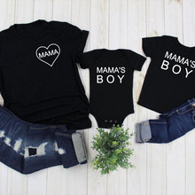 Mama and Mama's Boy Print Mom and Son Matching Short Sleeve T-shirt Mommy and Me Family Clothes Baby Romper Kids T Shirts Tee
