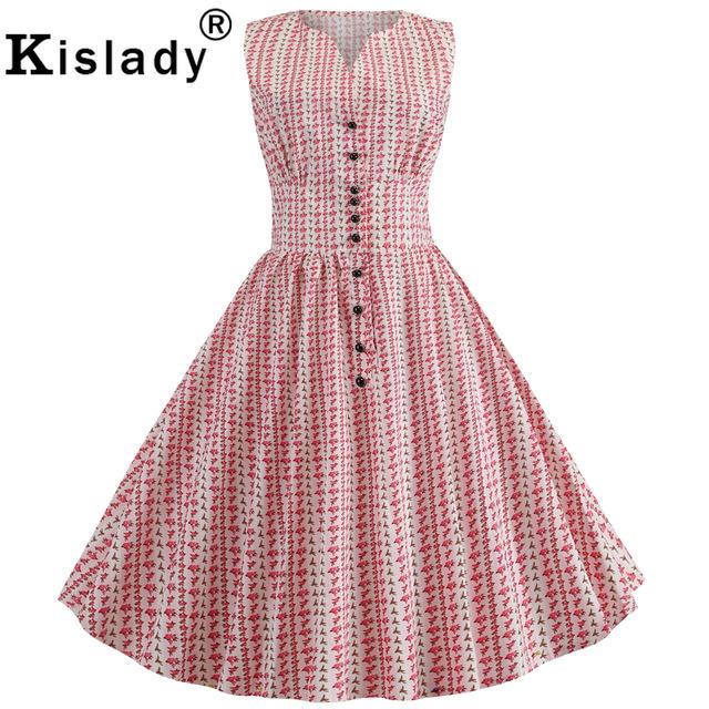 50s 60s Summer Women's Floral Print Vintage Dress Polka Dot Sweet Button Swing Dress Retro Hepburn Sexy Midi Dress Robe Femme