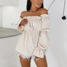 купить Off Shoulder Lantern Sleeve Chiffon Blouse Sexy Slash Neck Strapless Tunique Femme Top Ladies Tops Long Sleeve Womens Shirts по цене 650.01 рублей