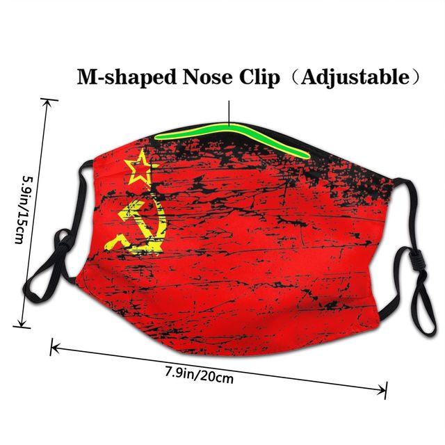 Маска для лица с флагом СССР, России, Коммунистическая социалистская противодымчатая Пылезащитная маска, респиратор для рта 3