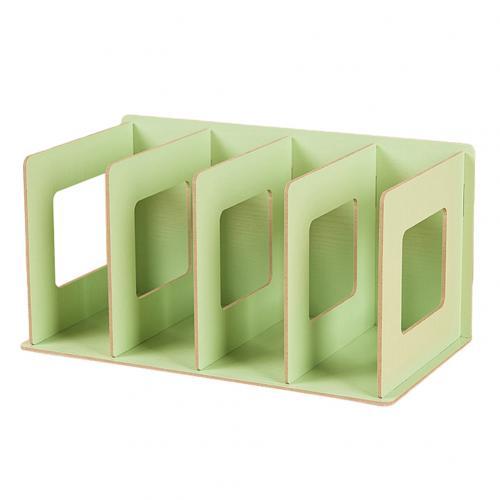 Простая многоярусная книжная полка 4 сетки оригинальная полка для хранения книжные мелочи DIY деревянный шкаф настольная подставка для книг домашняя детская книга - Цвет: Зеленый