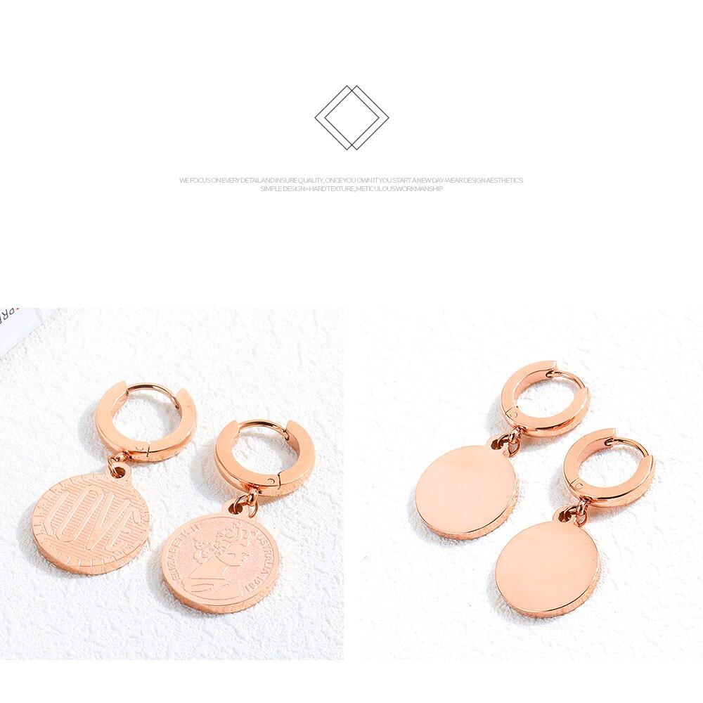 Brand Rvs Rose Gold Oorbellen Voor Vrouwen Retro Creatieve Koningin Elizabeth Coin Stud Oorbellen Voor Nieuwe Jaar Beste Geschenken tif - 2