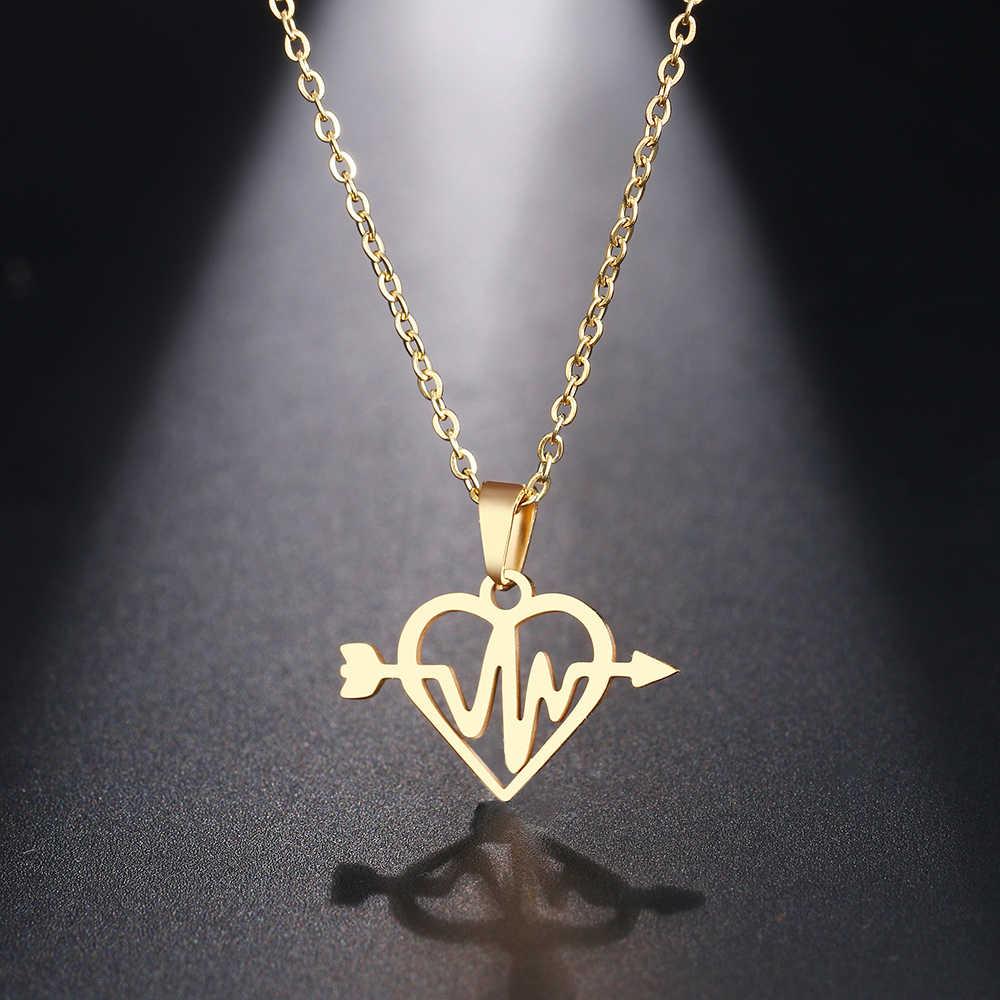 DOTIFI naszyjnik ze stali nierdzewnej dla kobiet Man Lightnin strzałka Gelectrocardiogram serce wisiorek naszyjnik biżuteria
