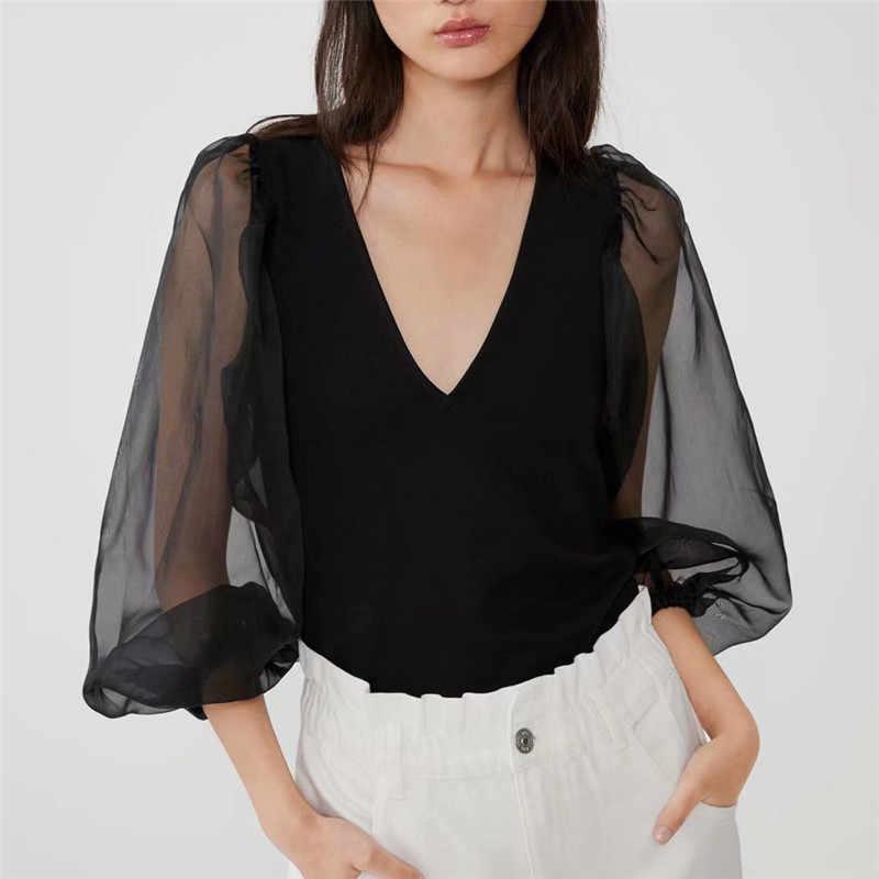 Vrouwen Sexy Diepe V-hals Zwart Blouse Patchwork Transparante Mouwen Stretchy Shirt Vrouwelijke Chic Stijlvolle Tops Blusas