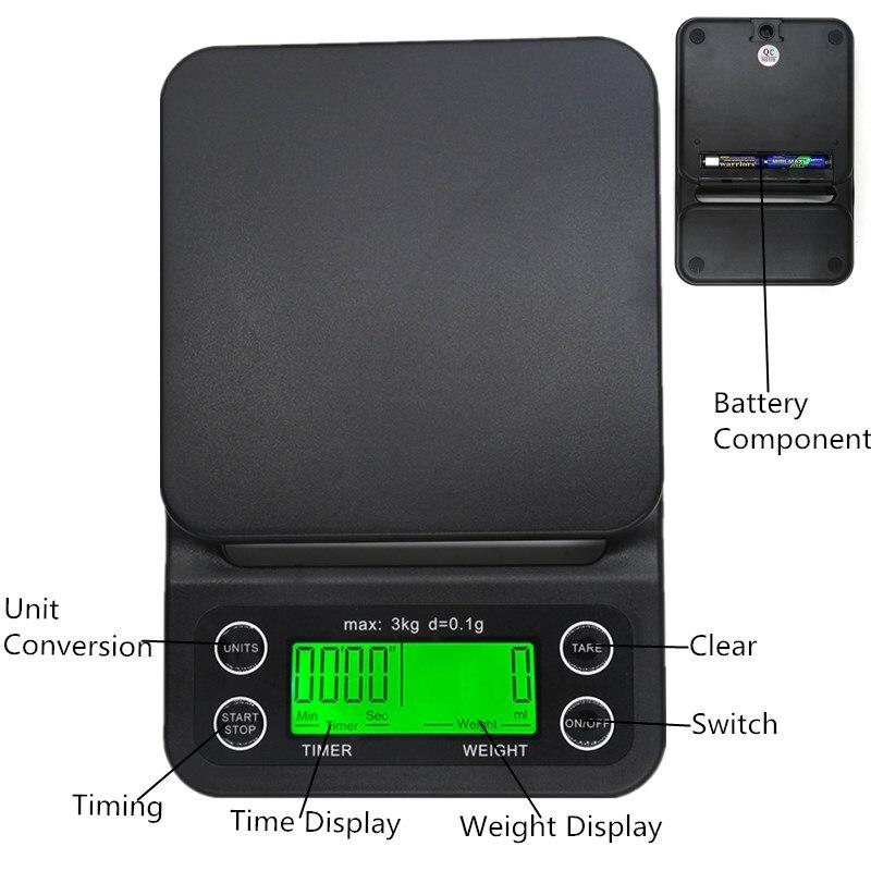 Цифровые весы для кофе, весы для ювелирных изделий, ЖК-дисплей с таймером, электронные кухонные весы для лекарств, капельные весы, скидка 30%-4