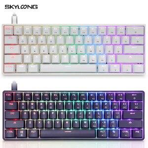 Image 1 - SKYLOONG GK61 SK61 clavier mécanique sans fil Bluetooth jeu Multi couleur rvb LED clavier Programmable rétro éclairé pour bureau