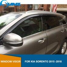 Deflectors หน้าต่างด้านข้างอุปกรณ์เสริมสีดำหน้าต่าง Sun Rain GUARD สำหรับ KIA SORENTO 2015 2016 2017 2018 รถจัดแต่งทรงผม SUNZ