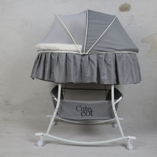 Rocking-Chair Baby Sleeping-Basket with Mosquito-Net Canopy Blue