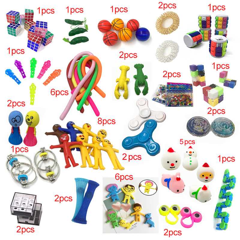 2019 New Funny Combination 50 Pieces Extrusive-Solving Fidget Kids Toys Amazon Hot Selling Various Styles Toy Set Wholesale