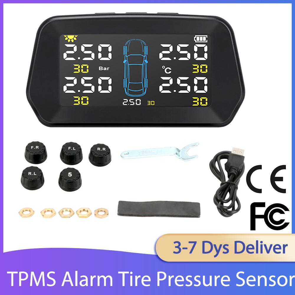 Alarm Tire Pressure Sensor Reliable Durable Monitoring System Solar Power Auto Security Tyre Pressure Control TPMS for 5 Tires
