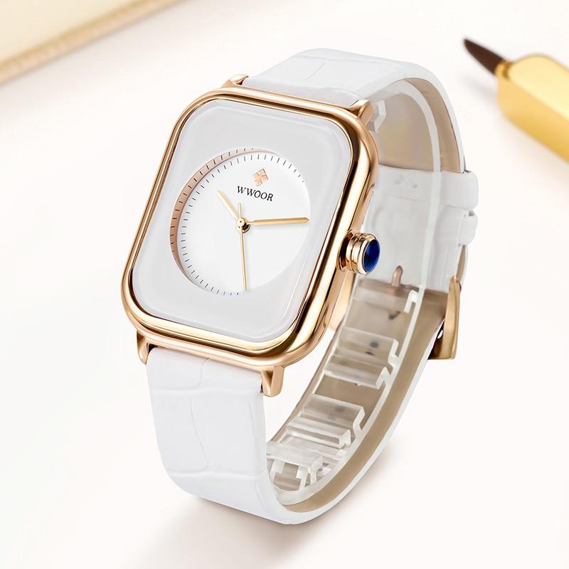 Fashion Women Watches 2020 WWOOR Brand White Leather Rectangle Minimalist Watch Ladies Quartz Dress Wrist Watches zegarek damski